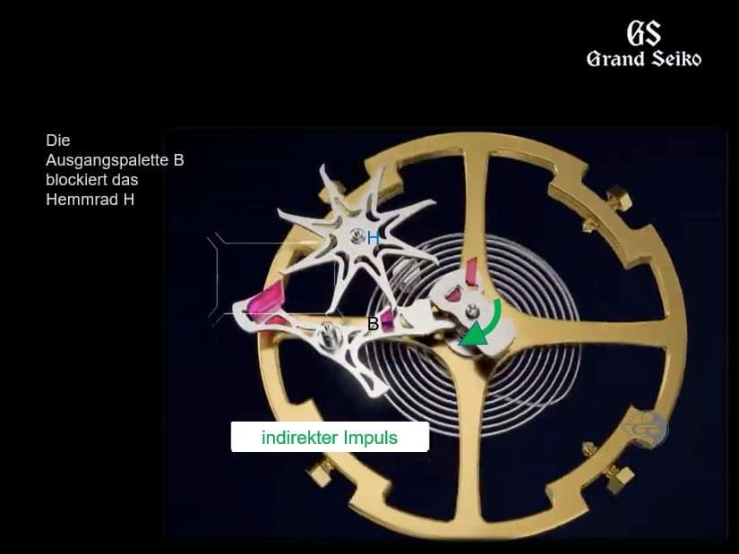 Kaliber 9SA5 Doppelimpuls-Hemmung - indirekter Impuls 2