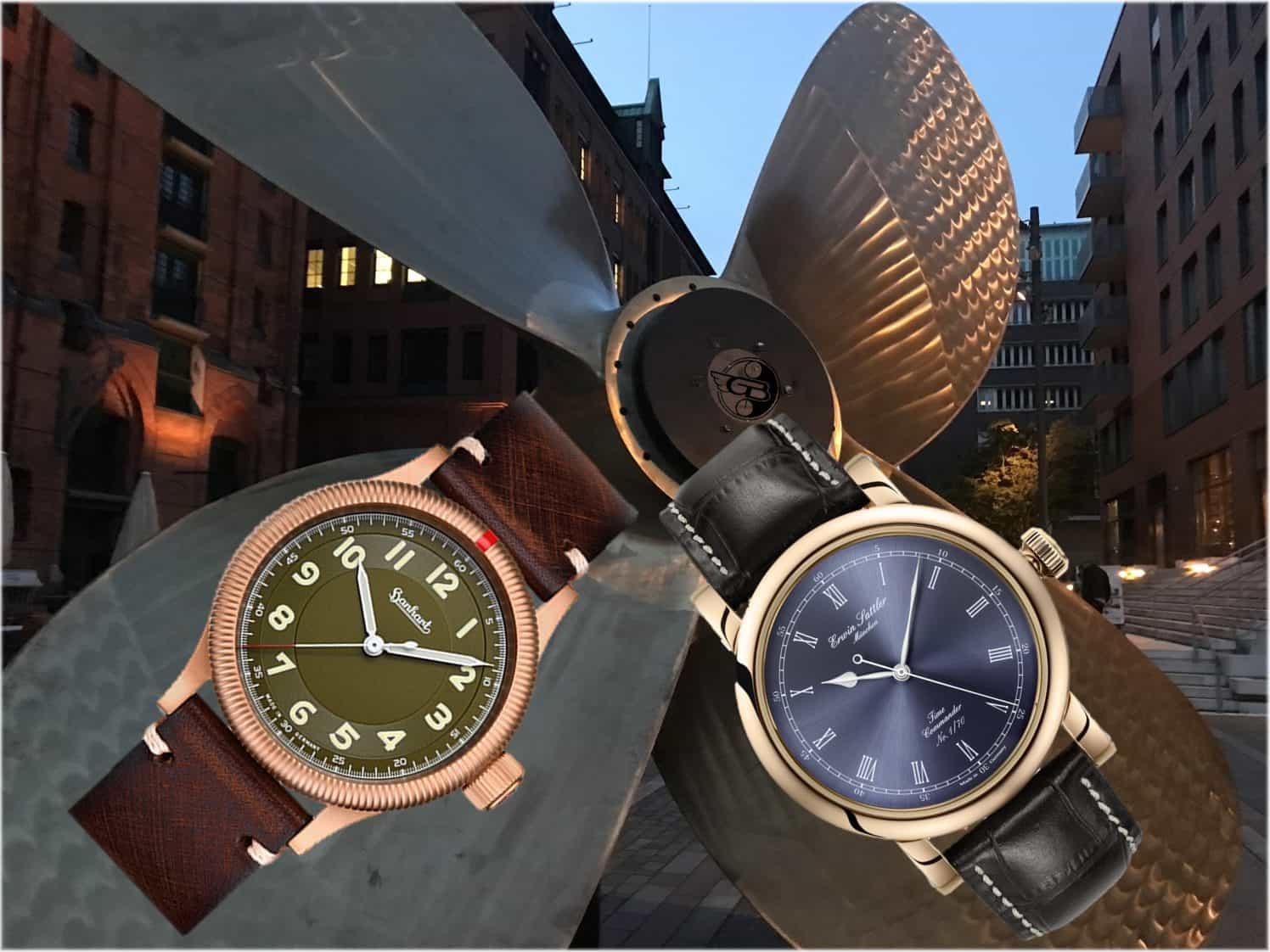 Bronze-Uhren von Hanhart und Erwin Sattler2 Bronze Uhr Editionen:  Hanhart Pioneer One und Erwin Sattler Classic Bronze