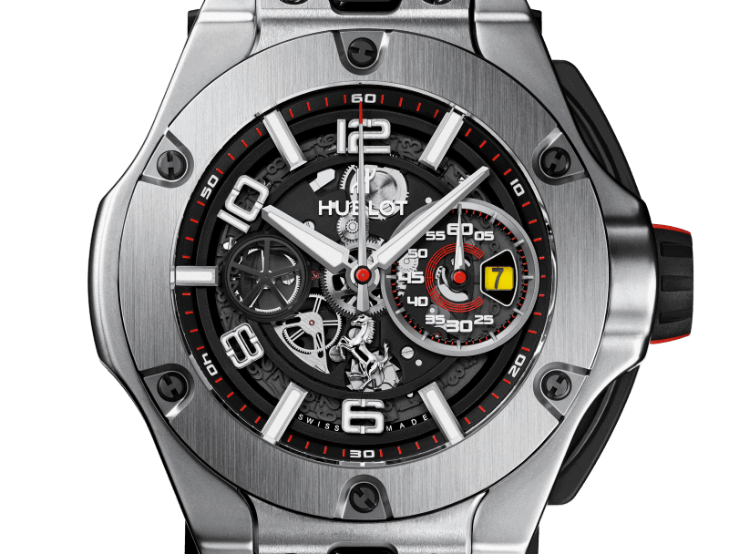 Ein Produkt der Automobil-Uhrenpartner Hublot Big Bang Ferrari Unico Titanium 45 mm