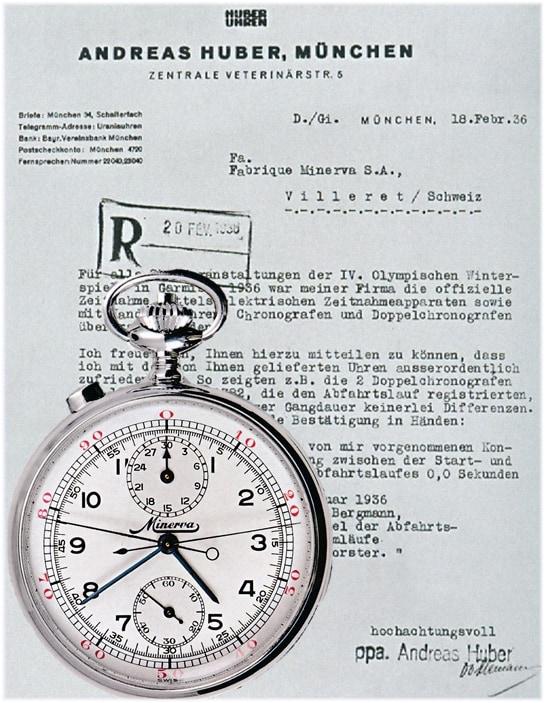 Lobesschreiben der Olympischen Winterspiele für die Minerva Chronographen