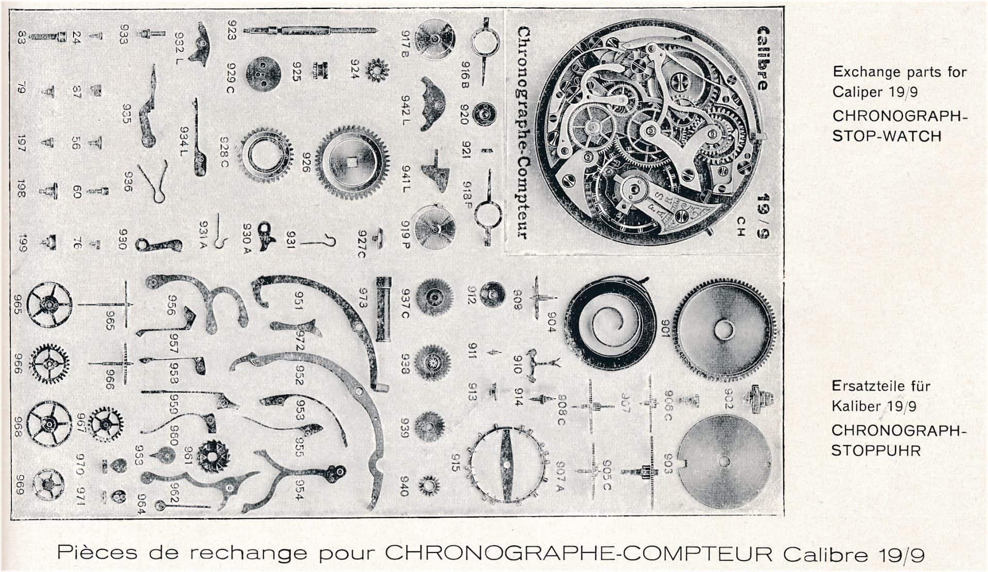 19-liniges Chronographenkaliber 19/9CH von 1909
