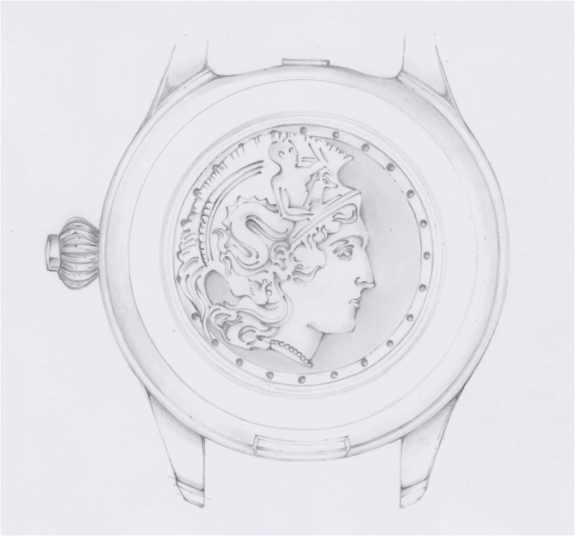 Der Boden der Uhr aus Titan trägt das Abbild der Göttin Minerva