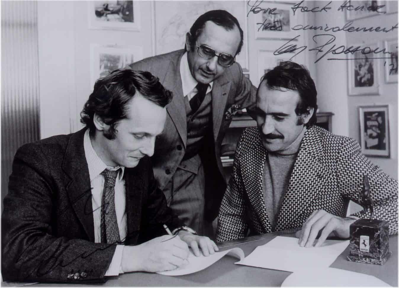 Automobile Partner Niki Lauda, Jack W. Heuer und Clay Regazzoni