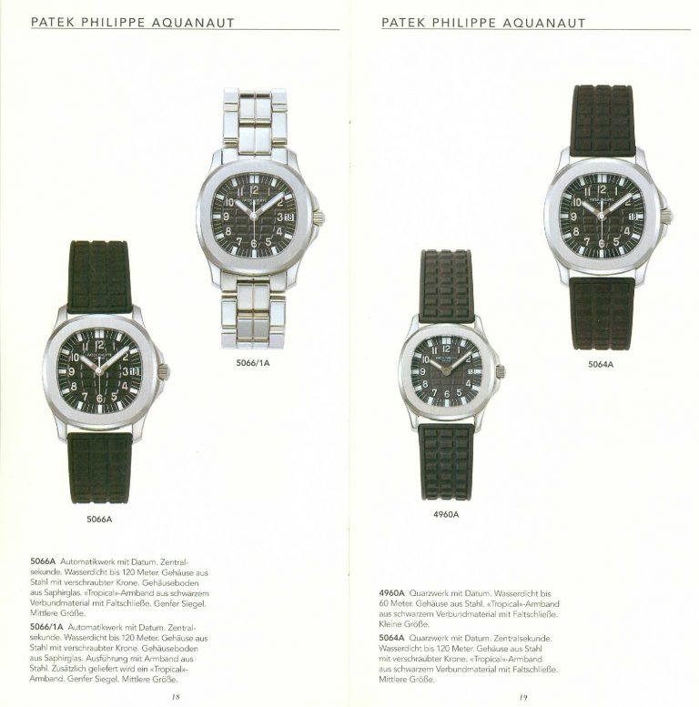 Patek Philippe Aquanaut Modelle Katalog 1998