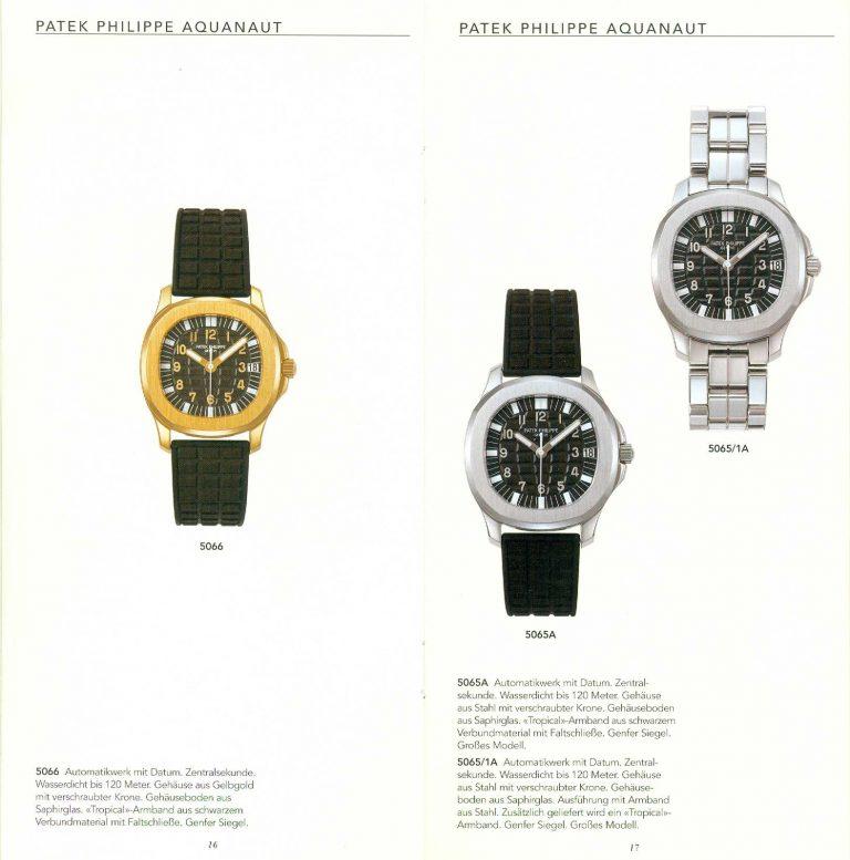 Aquanaut Modelle in Gold und Stahl von 1998 Katalog Patek Philippe
