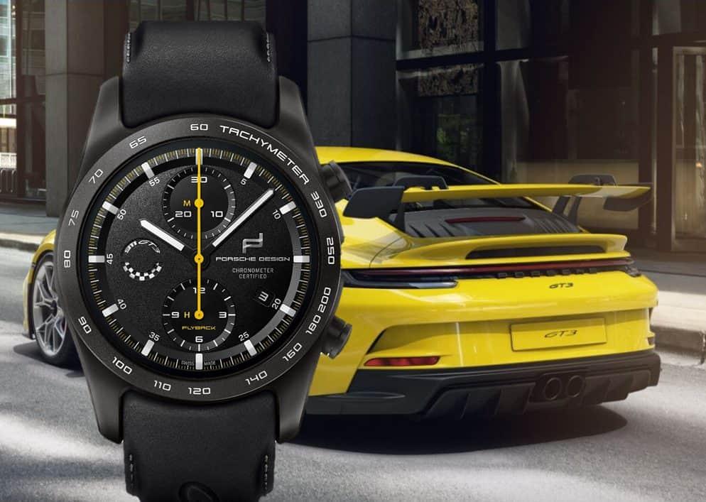 Porsche Design Chronograph 911 GT3 in Schwarz mit den gelben Chronographen-Stoppzeiger