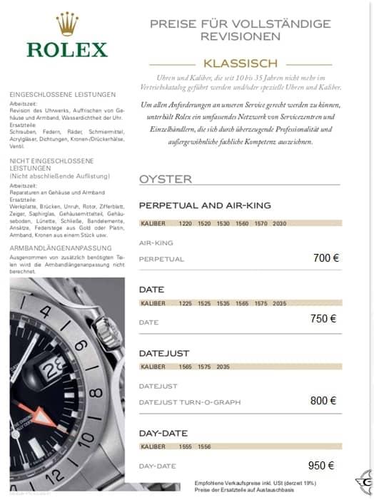 Preise Rolex Revision klassische Uhren 2021 1