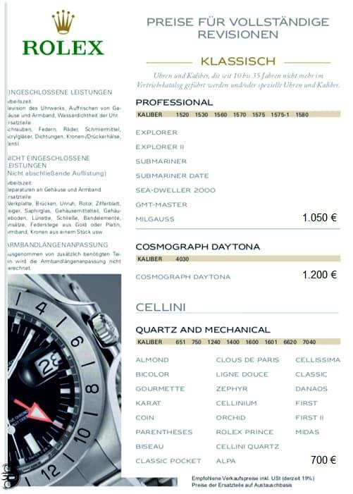 Preise Rolex Revision klassische Uhren 2021 2