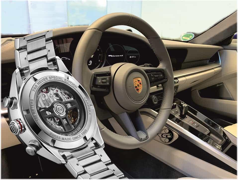 Der Rotors des TAG Heuer Carrera Porsche Heuer 02 Chronographen ist in seiner Gestaltung an ein Porsche Lenkrad angelehnt