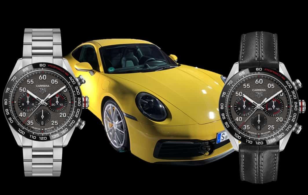 Version mit stählernem Gliederarmband oder Leder - beide Versionen des Carrera Porsche Chronographen werden angeboten