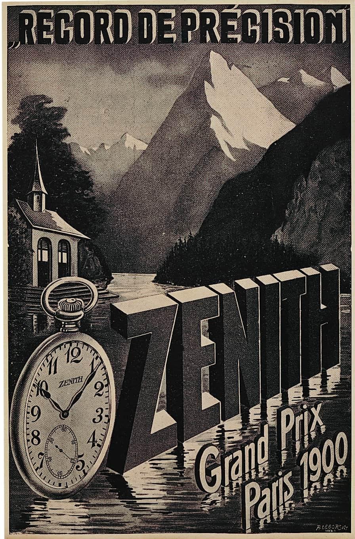 Historisches Anzeigenmotiv Zenith Taschenuhr Präzsion