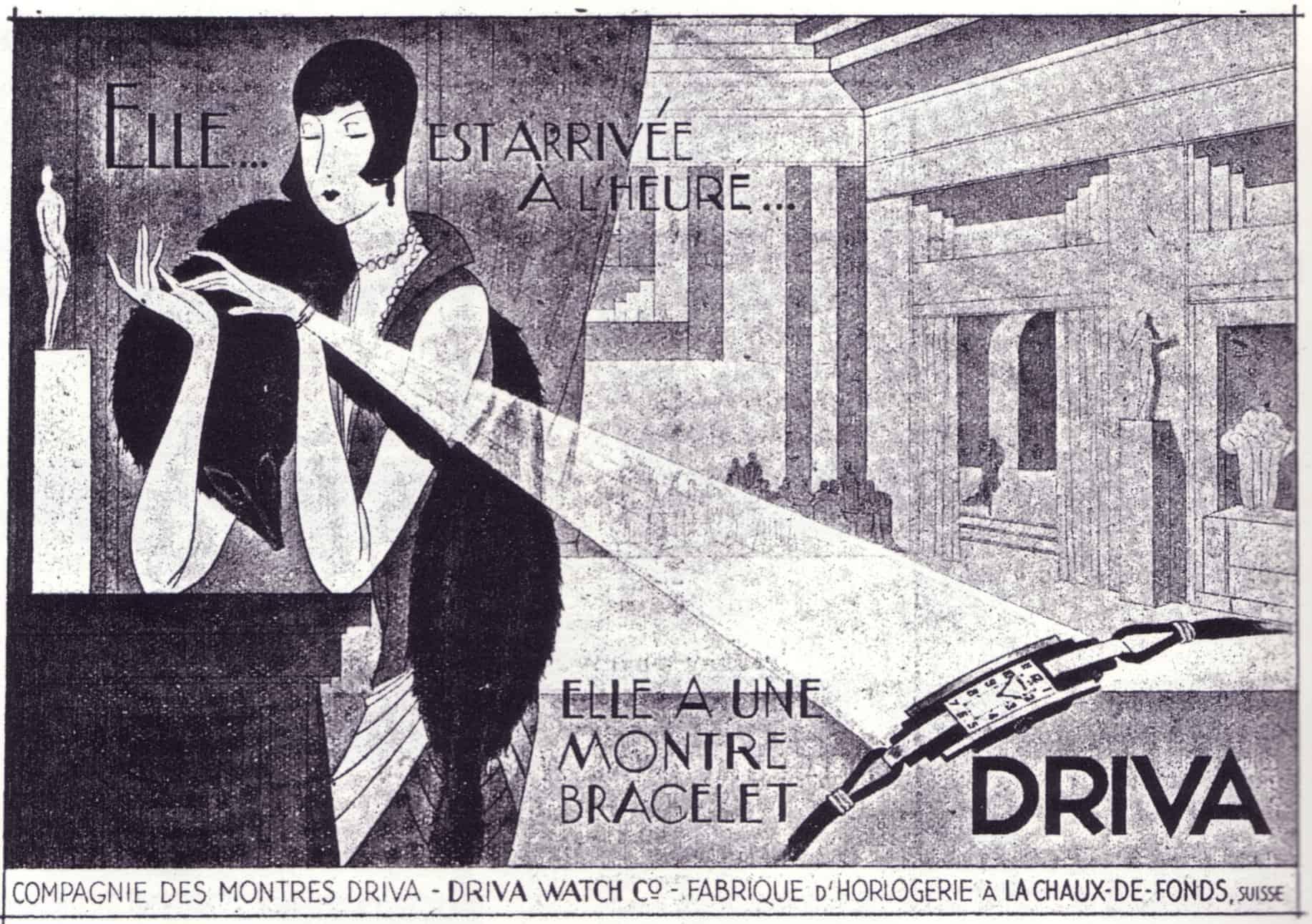 Historisches Werbemotiv Driva Damenuhr von 1931