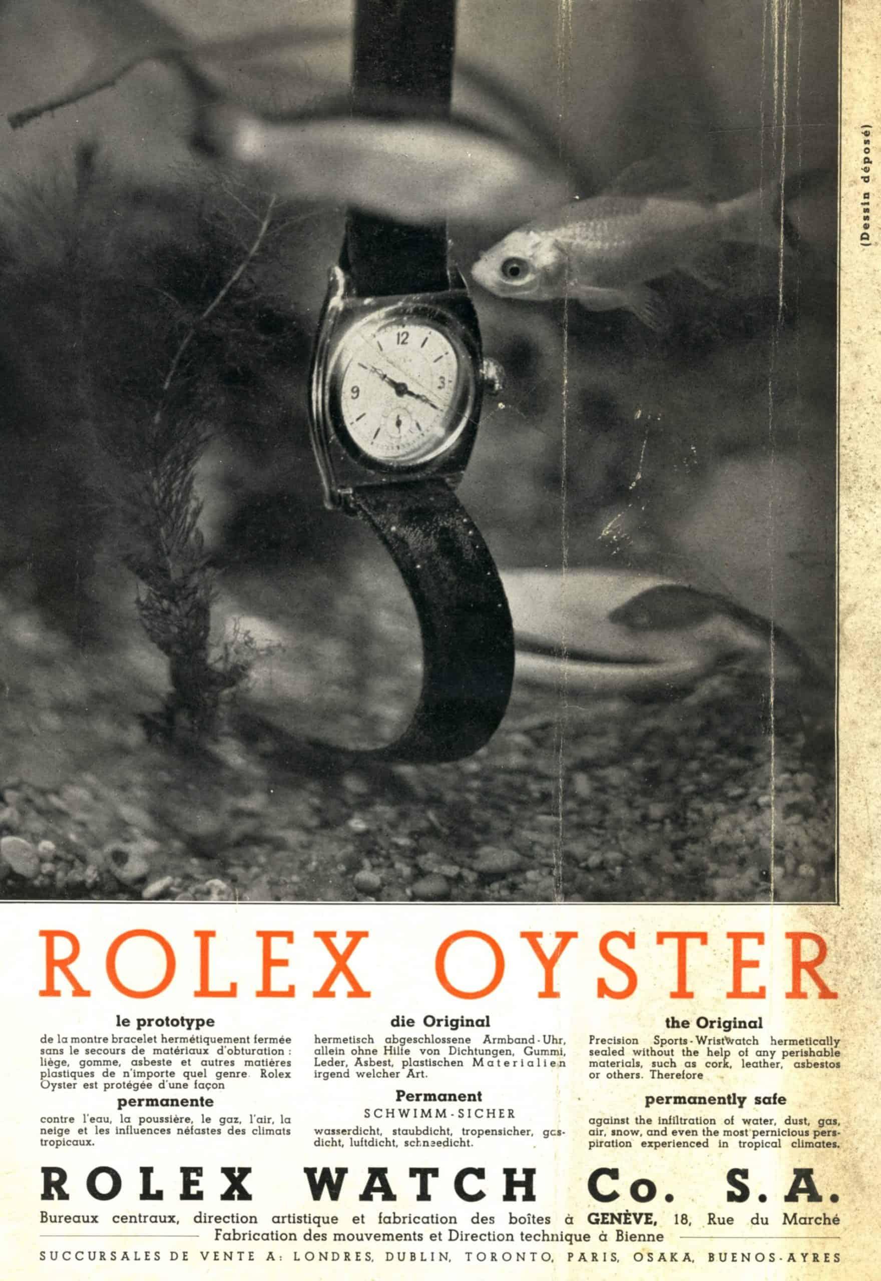 Alte Reklame Rolex Oyster Darstellung Produktvorteile Aquarium