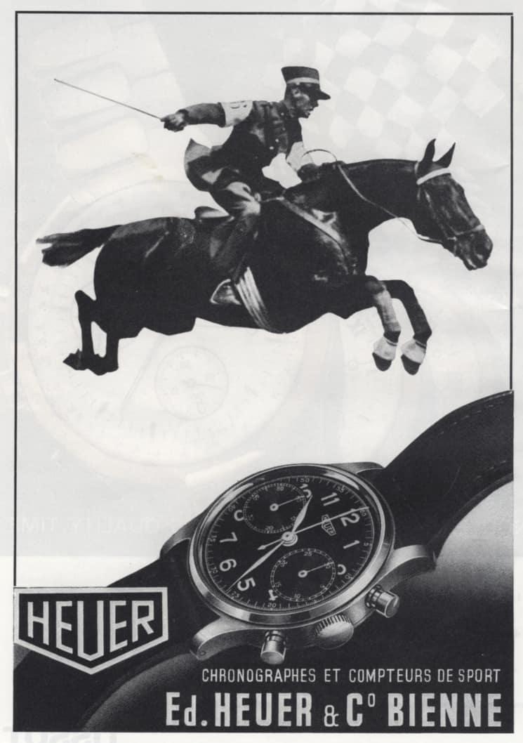 Anzeigenmotiv Heuer Chronograph mit Springpferd