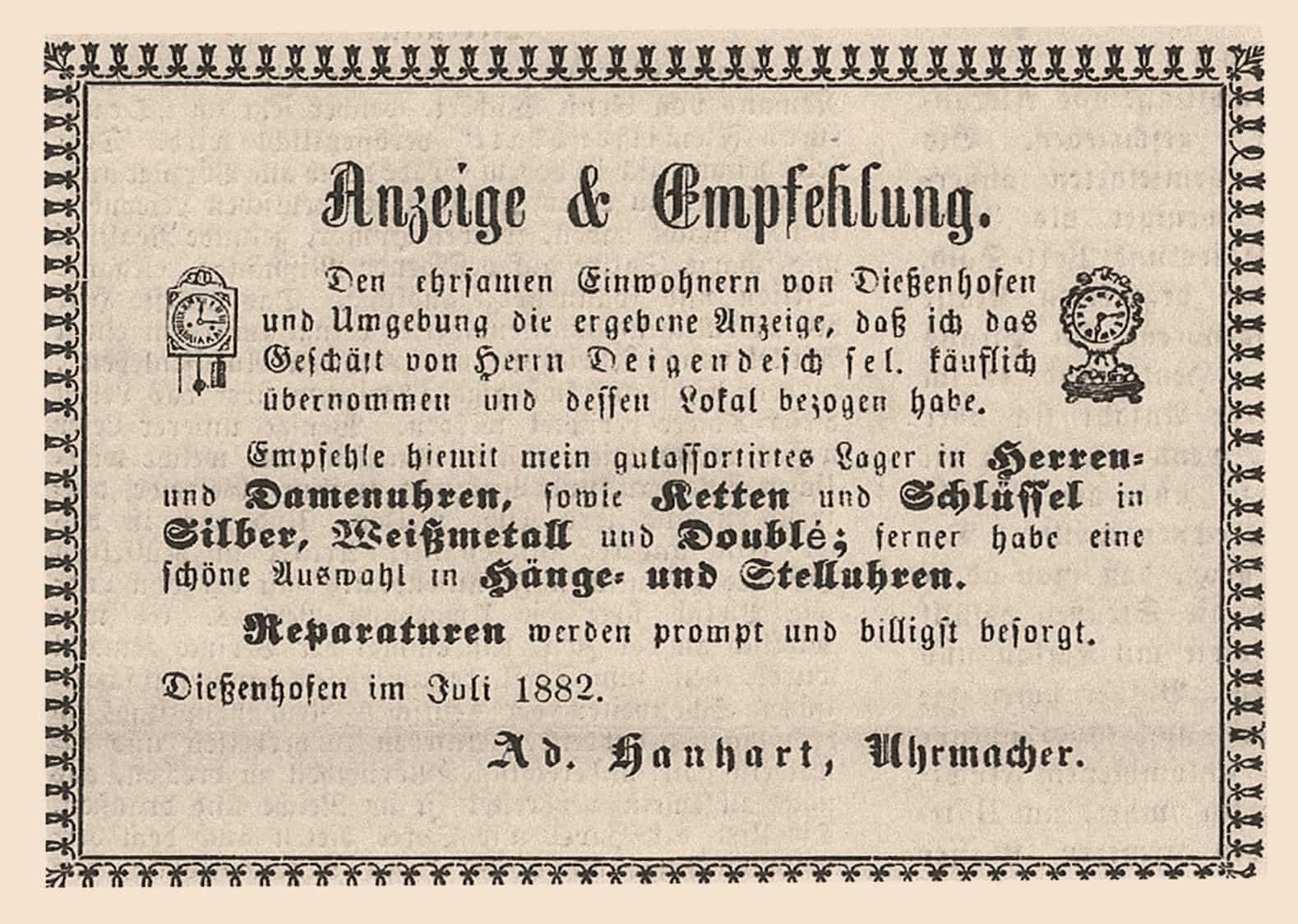 Uhrmacher Adolf Hanhart zeigte die Übernahme eines Uhrengeschäfts per Zeitungsannonce im Jahr 1882 an