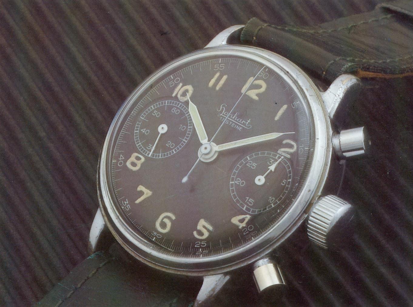 Hanhart Flieger-Chronograph von 1940 - ohne Drehlünette