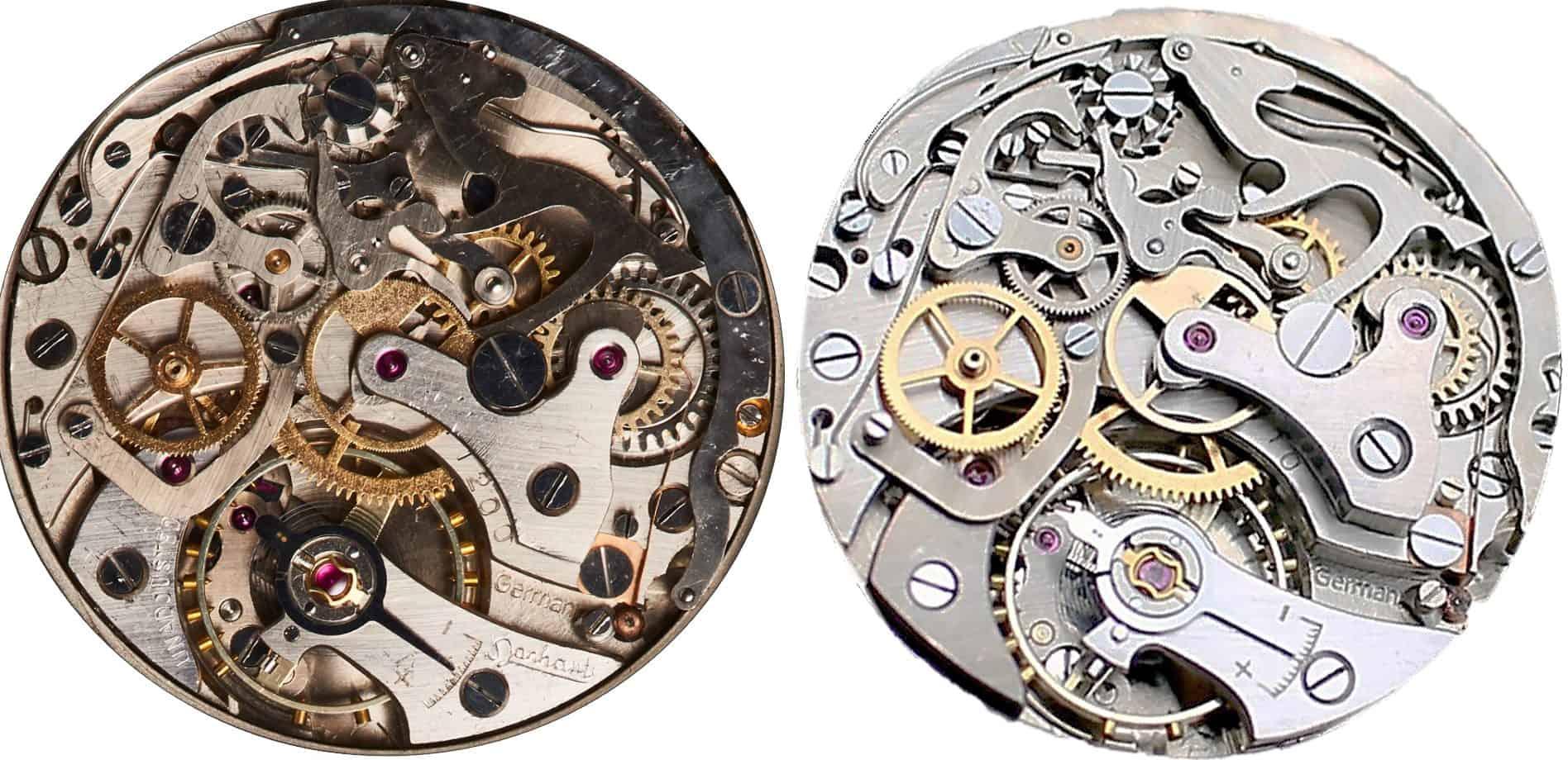 Die beiden Hanhart Kaliber im Vergleich: links das Kaliber 41 und rechts das 1957 vorgestellte 42