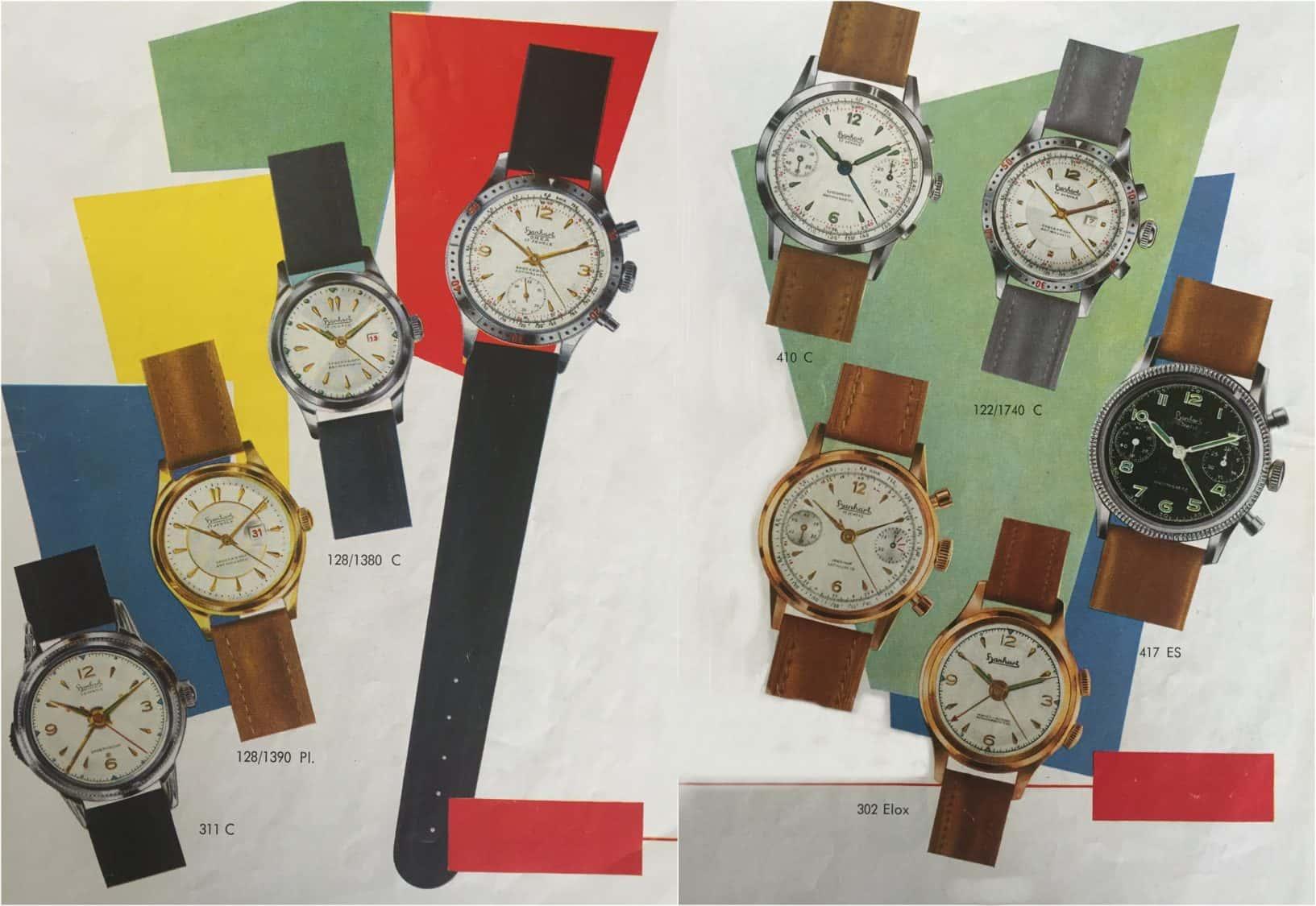 Hanhart-Katalog 1950er Jahre Wecker und Chronographen