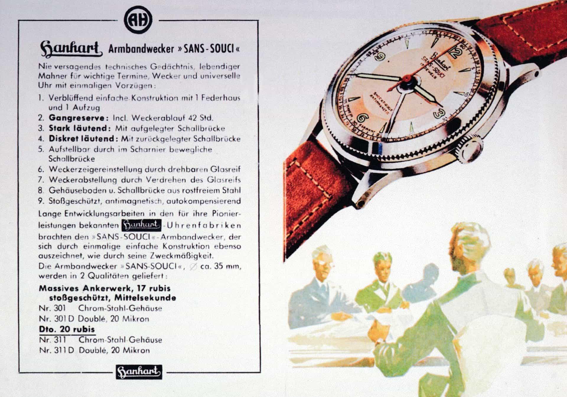 Hanhart Sans-Souci Armbandwecker, 1951