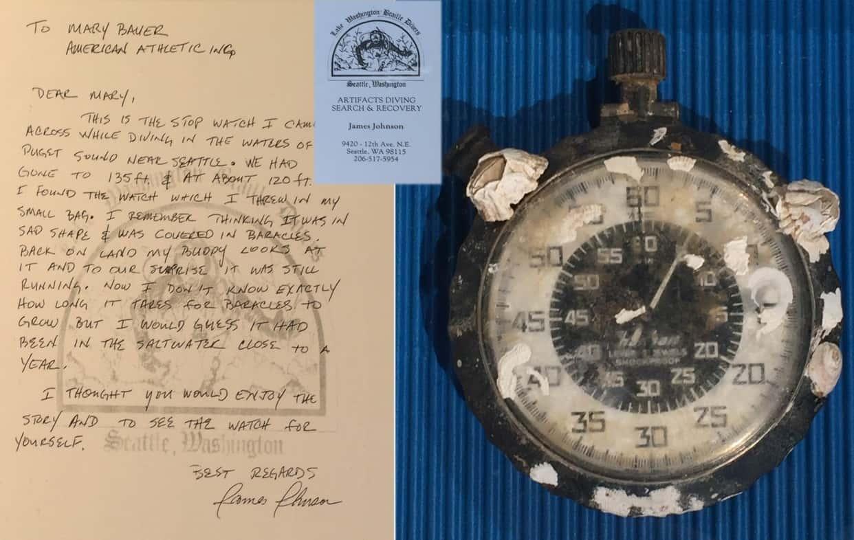 Hanhart Stoppuhr nach einem Jahr im Salzwasser - mit Brief James Johnson Foto