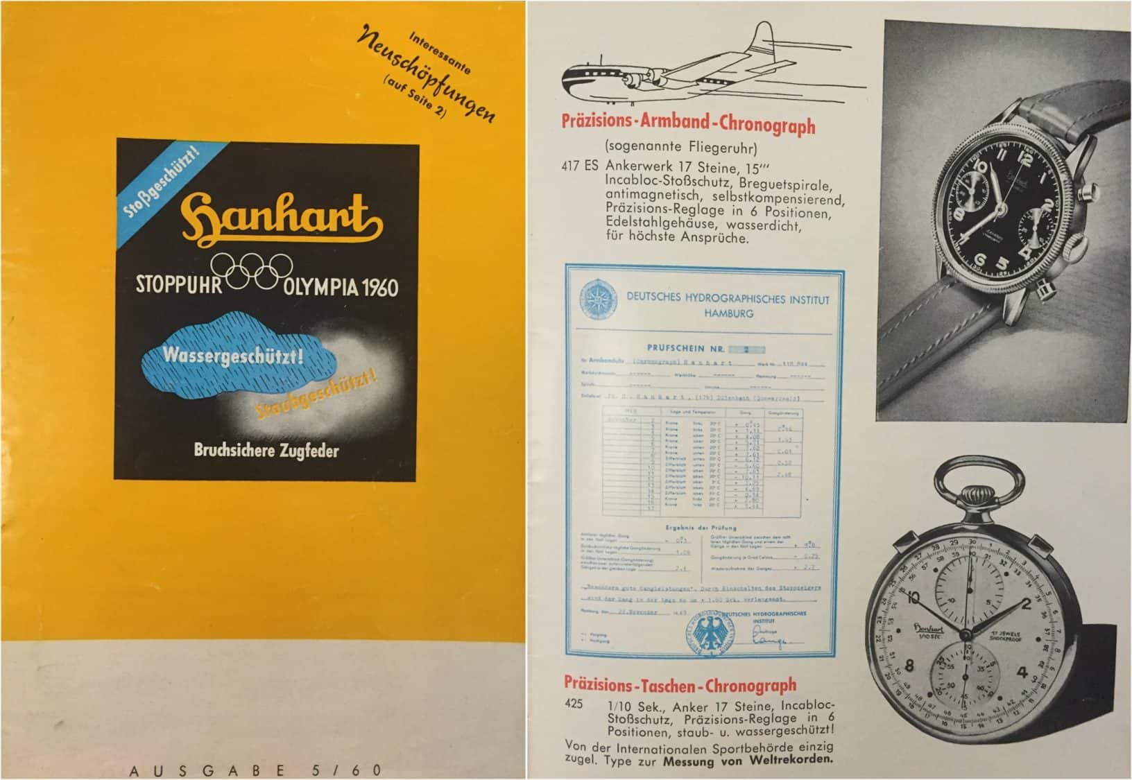 Hanhart Uhren-Katalog aus dem Jahr 1960