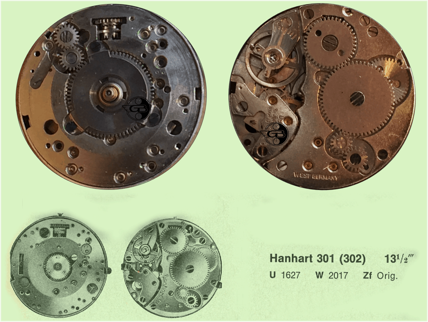 Weckerkaliber 301 / 302 von Hanhart. Unten das Kaliber 301. Oben die auch für den Export in die USA bestimmte Version 302.