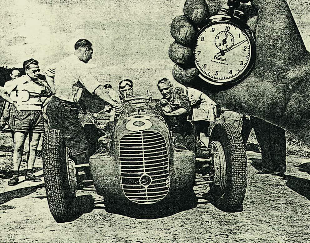 Hanhart Stoppuhr bei einem Autorennen am Nürburgring im Jahr 1938