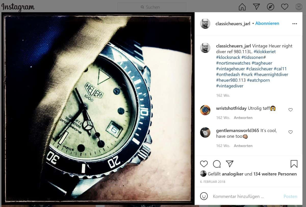 Heuer Night Diver Uhr Vintage Instagram Post