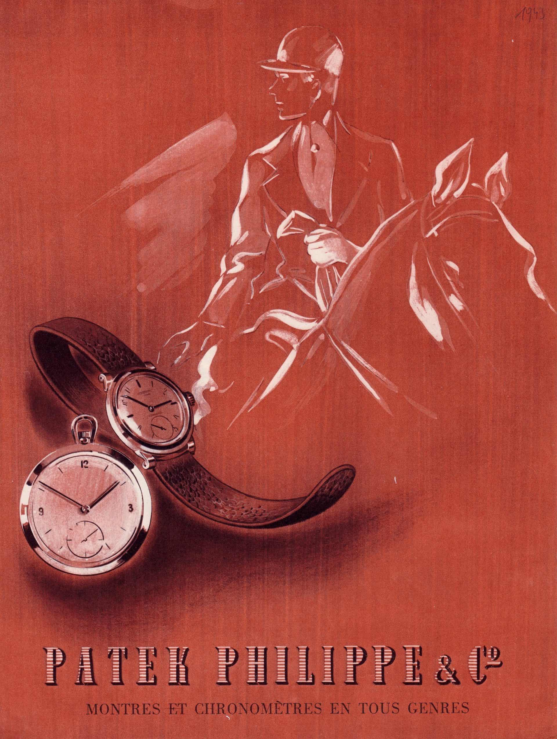 Historisches Anzeigenmotiv Patek Philippe Uhr mit Reiter 1941