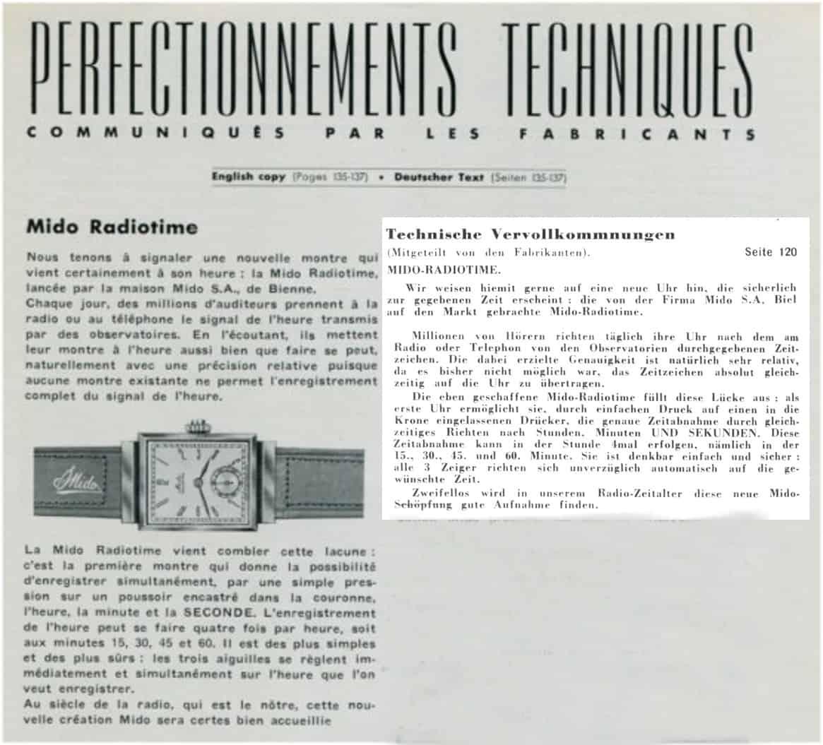 Mido Radiotime Journal Suisse dHorlogerie 1939
