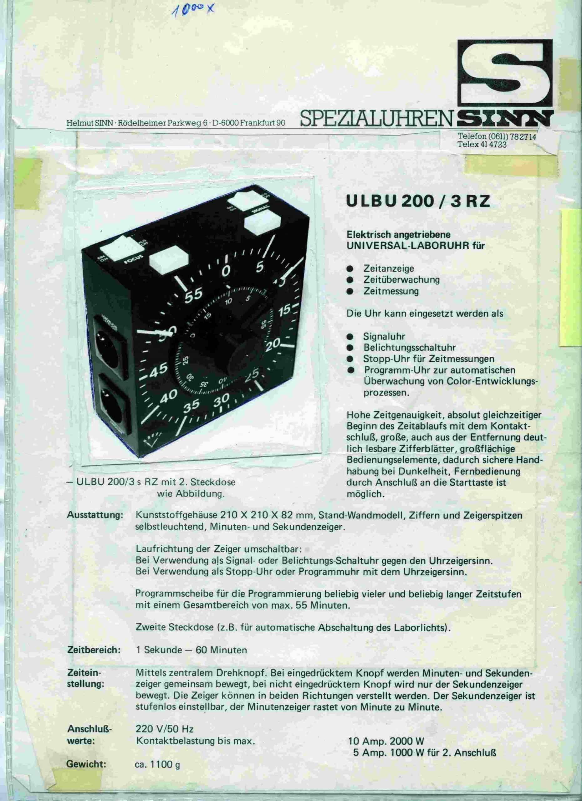 SINN Spezialuhren 1961 Anzeige
