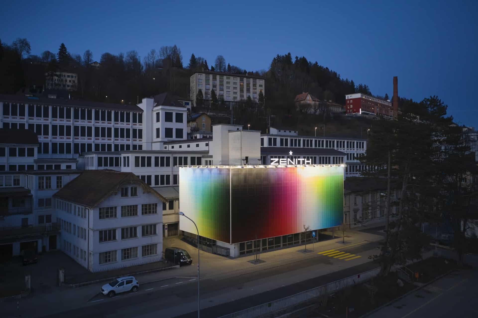 Uhrenmanufaktur Zenith in Le Locle nach der Inszenierung durch Felipe Pantone im Jahr 2020