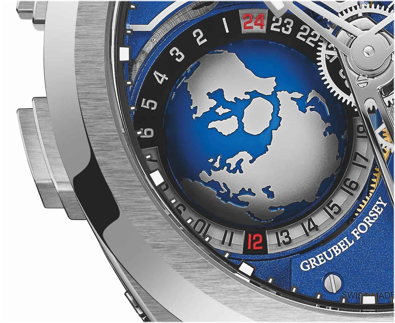 Die vom Nordpol aus betrachtete Erdkugel dreht einmal pro 24 Stunden um 360 Grad
