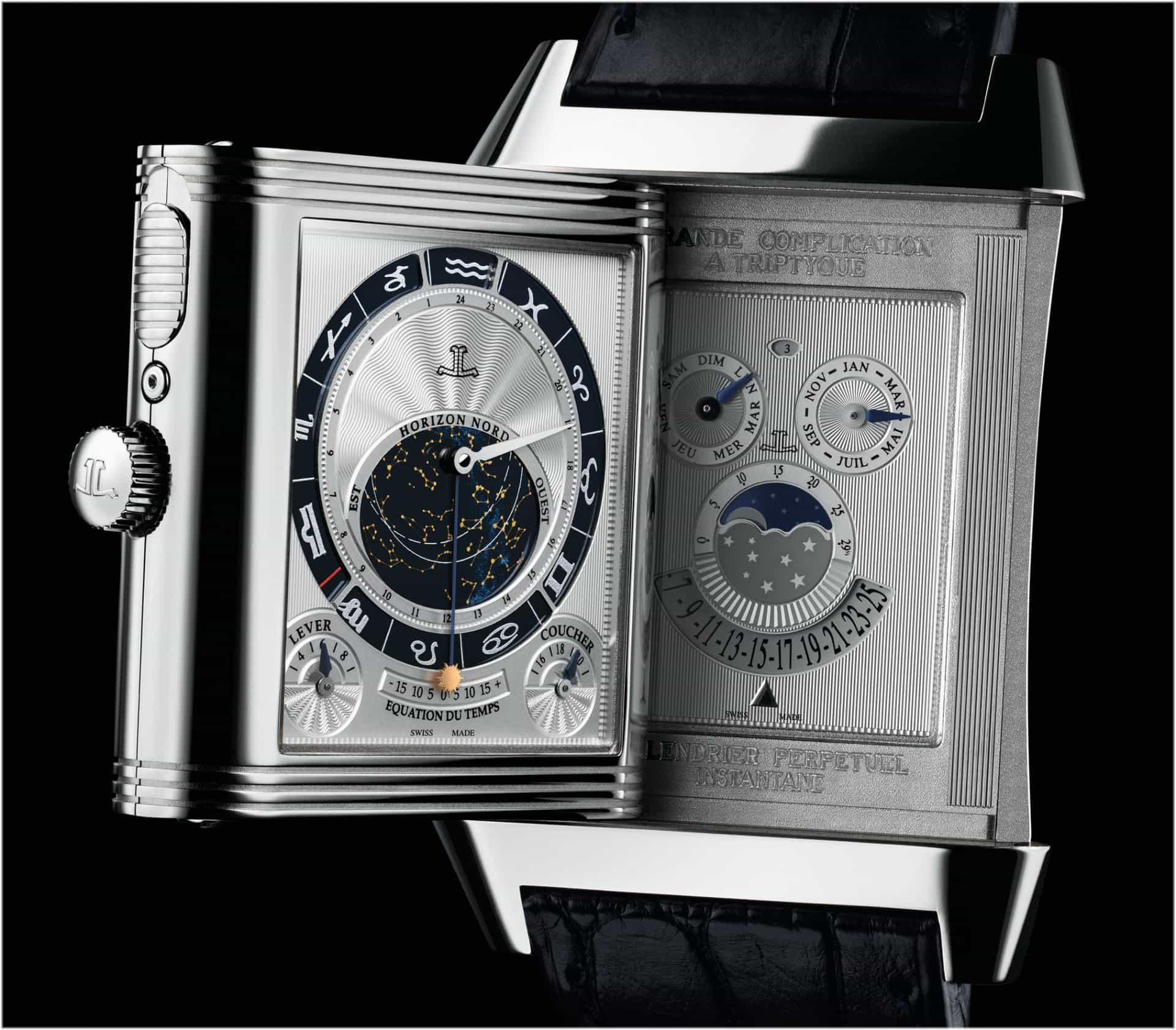 Zwei der drei Zifferblätter  der Jaeger-LeCoultre Reverso Uhr Grande Complication à Triptyque