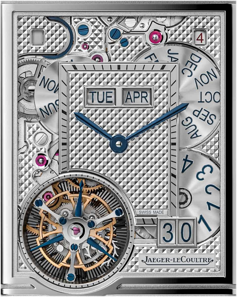 Hauptzifferblatt Jaeger-LeCoultre Reverso Hybris Mechanica 185 mit ewigem Kalendarium und Tourbillon