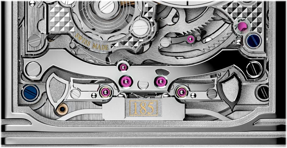 """Trebuchet""-Schlagwerkshämmer der Reverso Hybris Mechanica Kaliber 185 bringen kantige Tonfedern zum Klingen"