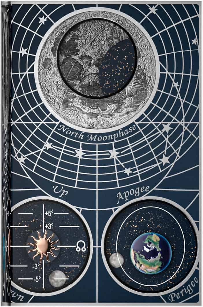 Drittes Zifferblatt der Hybris Mechanica 185 Quadriptyche mit drei verschiedene Arten von Mondphasenindikation