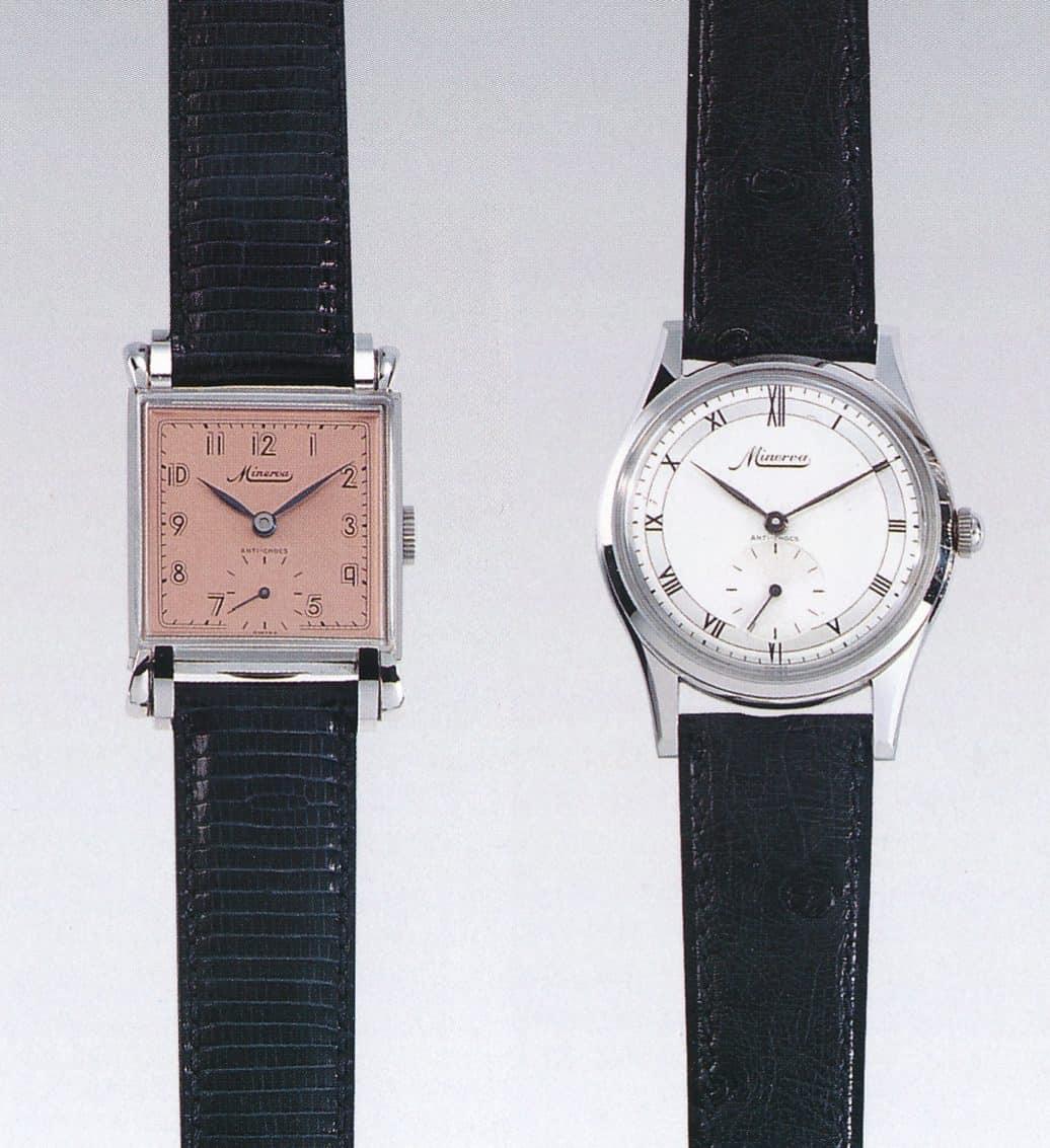 Vintage Minerva Uhren mit dem Kaliber 48 von 1946 und 1954
