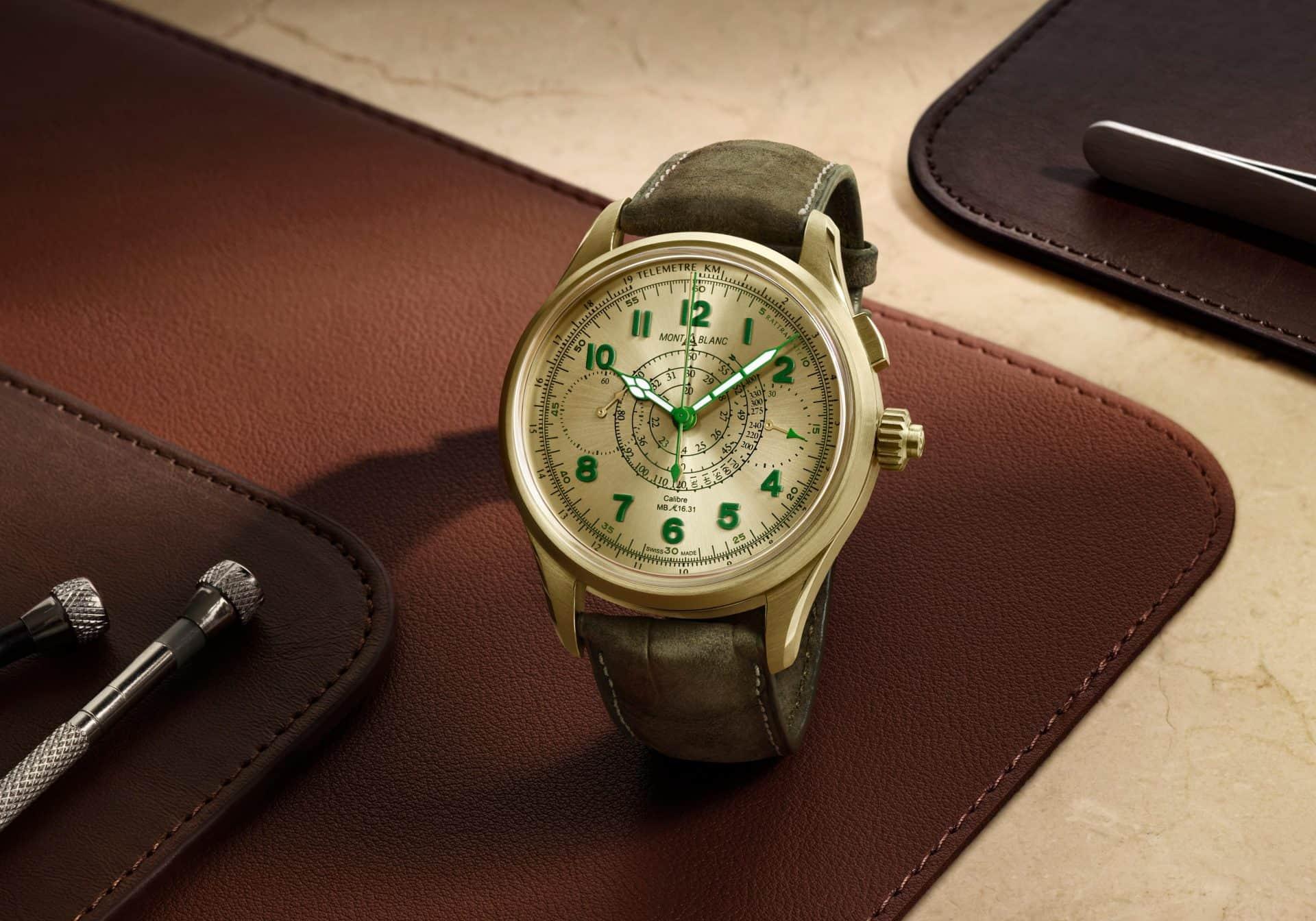 Leicht grüne Uhr Montblanc Split Second Chronograph Limited Edition