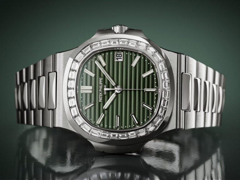 Grünes Zifferblatt der Patek Philippe Nautilus Ref. 5711 1A mit Diamantenbesatz