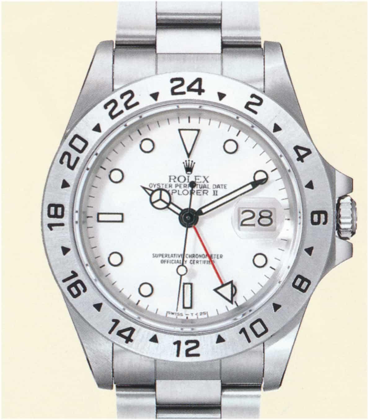 Rolex Explorer II Referenz 16570 1. Generation Tritium 25 Zifferblatt Polar weiss Preis 1990 3450 Deutsche Mark