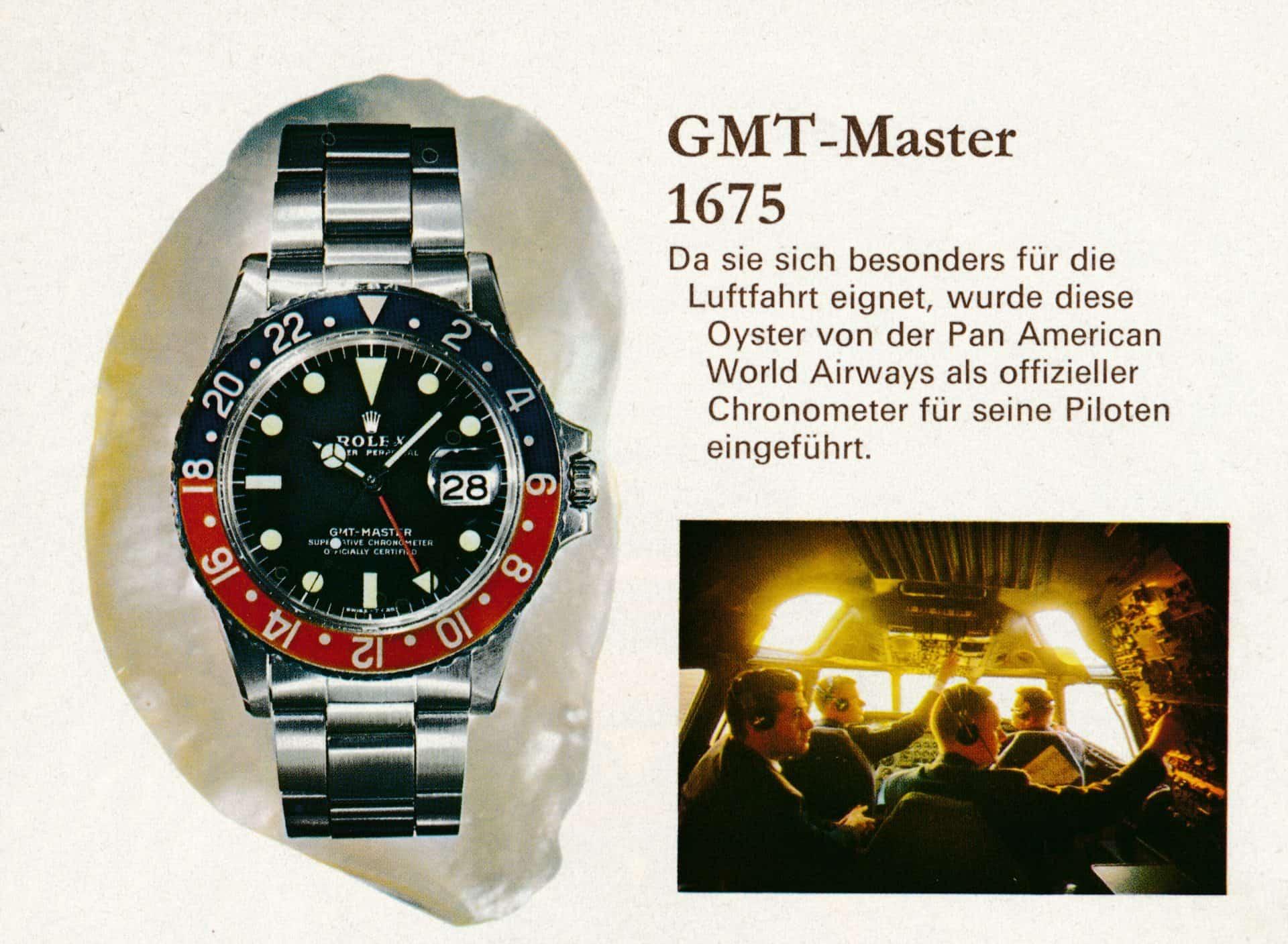 Rolex GMT-Master Pepsi, Referenz 1675, mit Drehlünette zum damaligen Preis von 1975 Mark