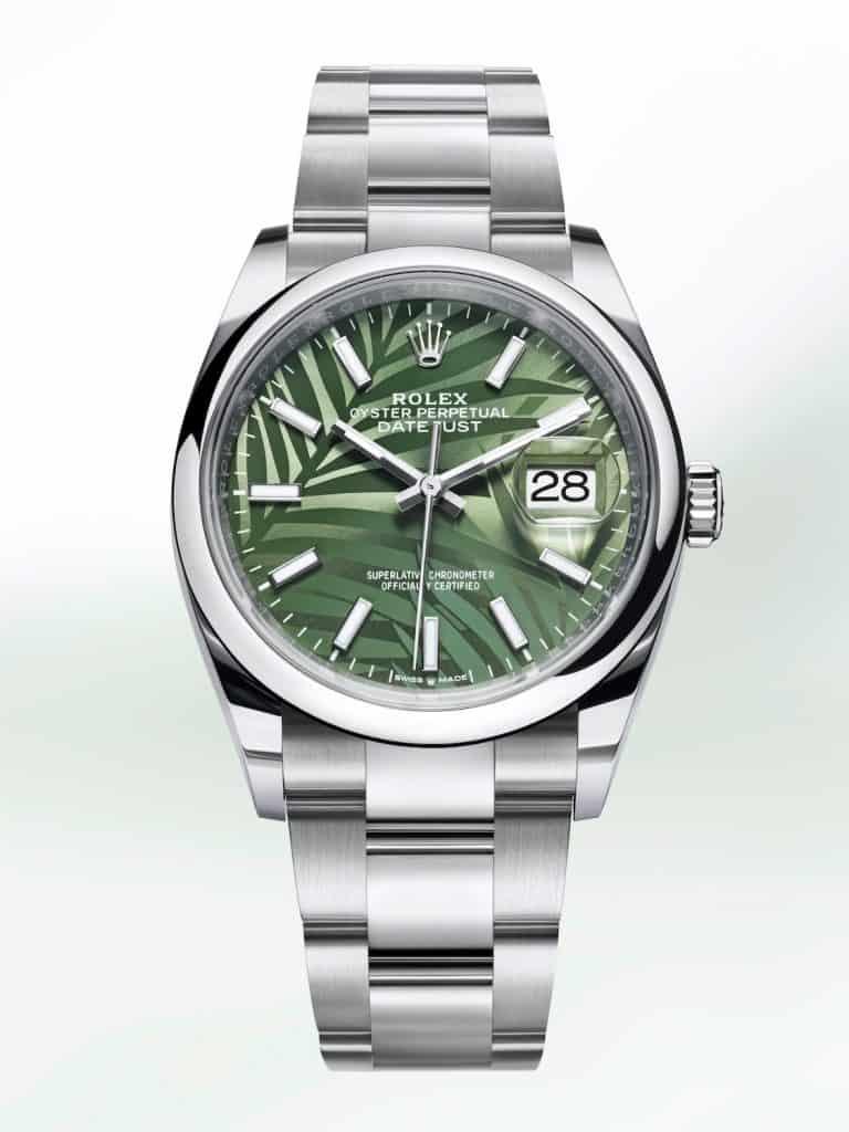 Rolex Oyster Perpetual Datejust 36 mit grünem Palmenmuster von 2021