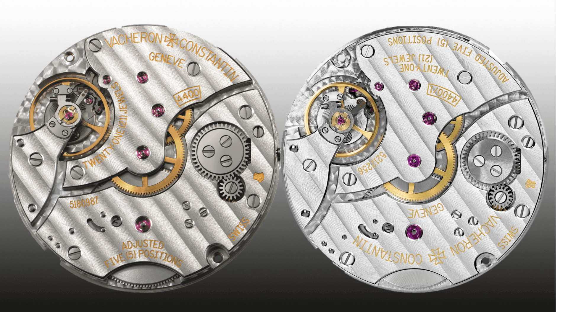 Vacheron Constantin Handaufzugskaliber 4400 (links) und 4400/1