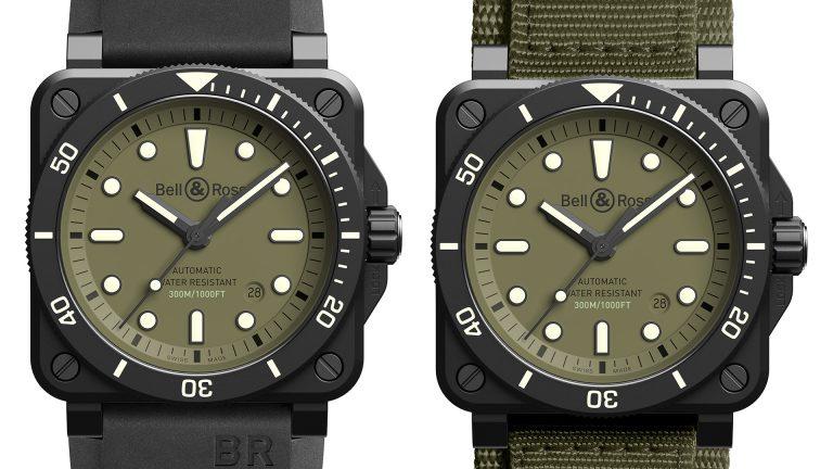 Bell & Ross BR0392 Diver Military Kautschuk und Natoband