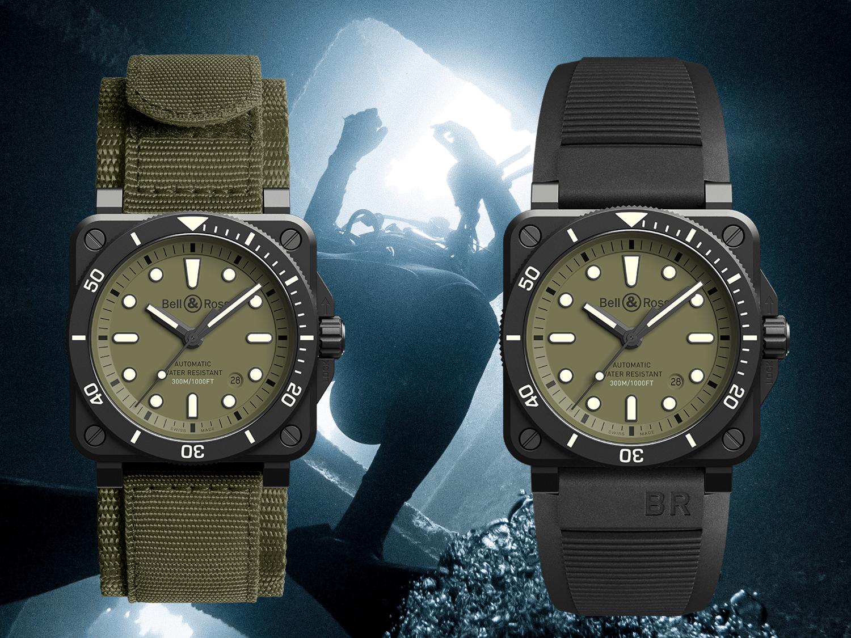 Bell & Ross BR0392 Diver Military Kautschukband und Nato-Band