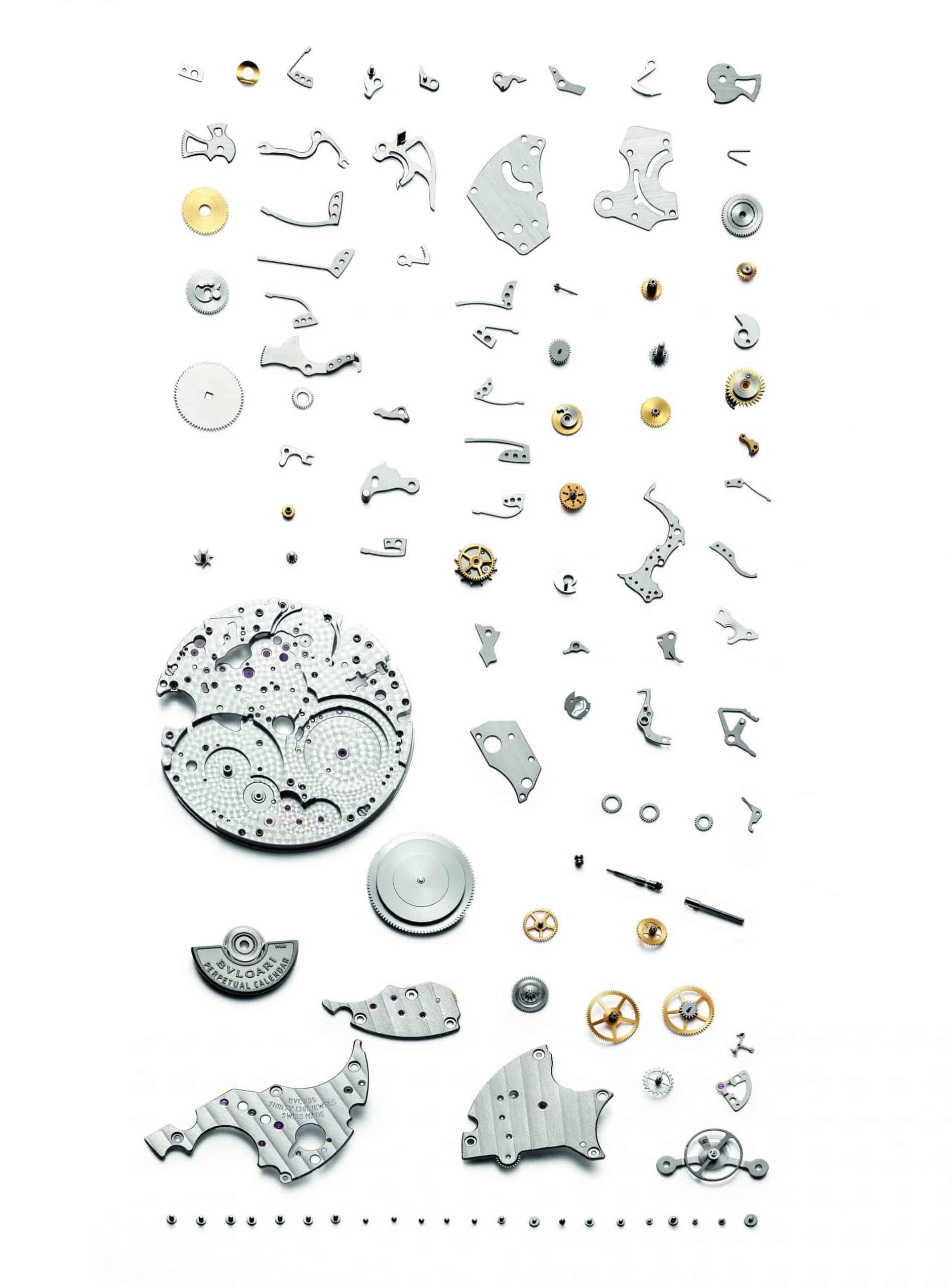 Explosionszeichnung der Komponenten der Bulgari Octo Finissimo Eternal Calendar