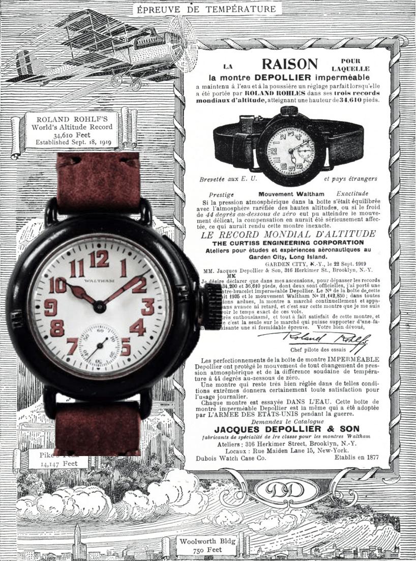 Anzeige Depollier Waltham für Höhenrekord Roland Rohlf 1919