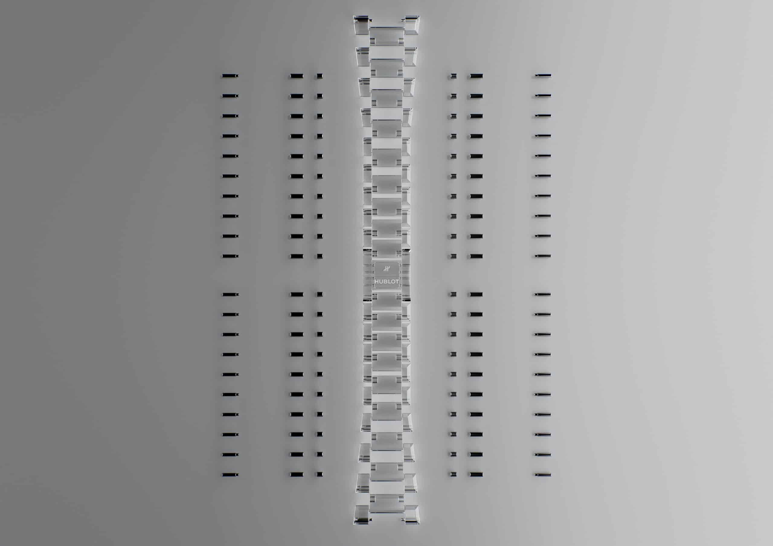 Einzelteile des Saphir-Armbands der Hublot Full Sapphire