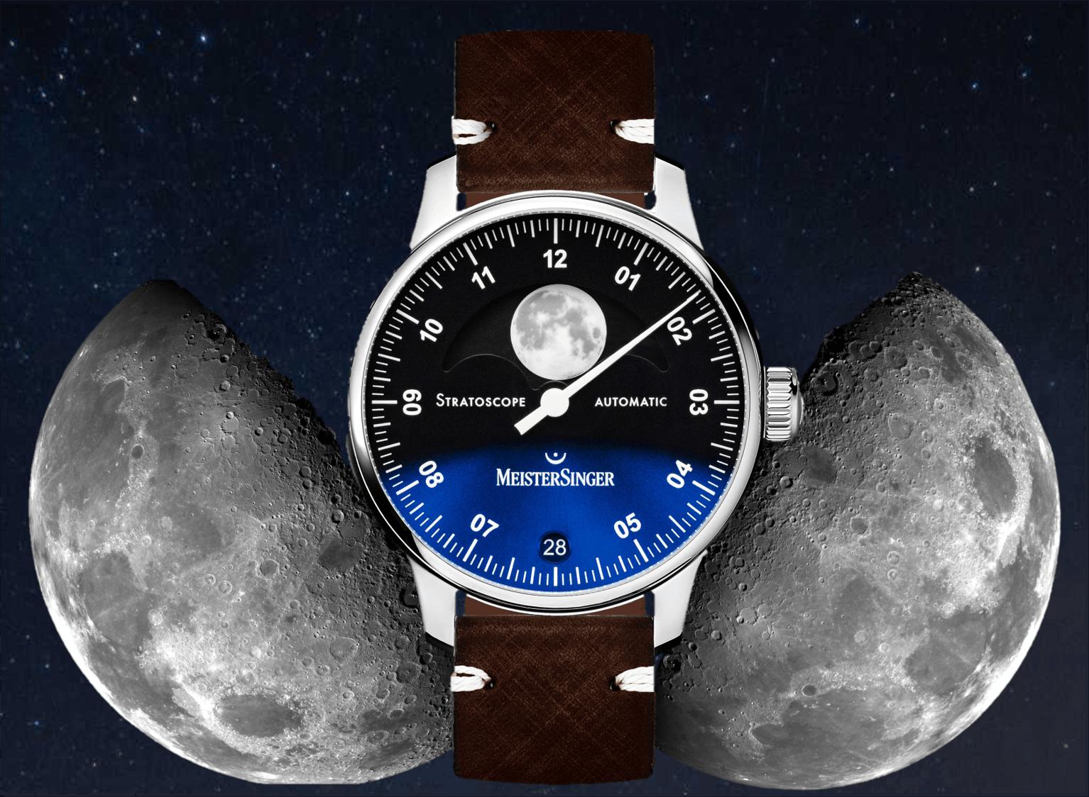 MondphasenuhrMeisterSinger Stratoscope Einzeigeruhr: Eine Mondphasenuhr zum 20. Geburtstag